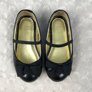 Janie and Jack Patent Leather Flats Bow Black 6